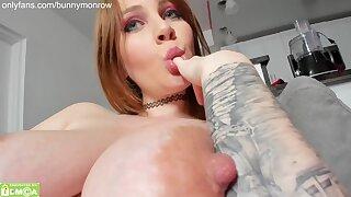 Redhead cutie Bunny Monrow Nipple Sucking go-go on webcam - merely