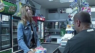 Priscilla gives a customer a blow job at the cashier who doesn't know how to pay