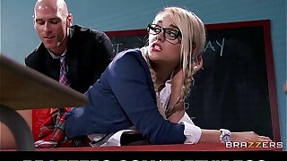 Kinky blonde schoolgirl is spanked and fucked by their way prof