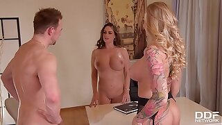 Order about milf Kayla Green & hot lawyer Cathy Heaven in XXX office threesome