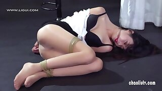 Chinese BDSM sexy model girl in the air bondage - Asian chest