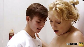 SHAME4K. Boy lets moms sexy girlfriend hither a shower at his place